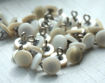 12 Small Vintage 1950s Mother of Pearl Metal Shank Buttons// 10mm// 40s 50s White Buttons// New Old Stock