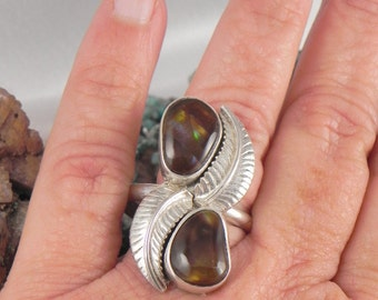 Huge  Fire Agate Sterling Ring