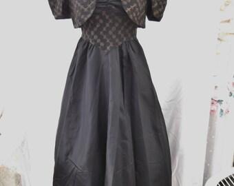 Vintage 1930s 1940s Dress Bolero Black Taffeta Gold Tone Metallic Thread Old Hollywood Art Deco