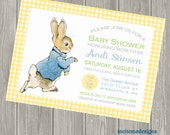 Peter Rabbit, Baby Shower Invitation, Birth Announcement, Personalized, Baby Shower, Baby Boy, Baby Girl