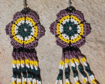 Purple Peyote Stitched Beaded Earrings