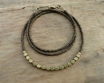 Dainty Neutral Layering Necklace, simple gold and brown necklace with raw brass and seed beads, Bohemian jewelry