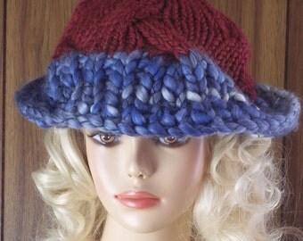 Women Handknit Hat With Brim Rolled or Wide Blue Burgandy