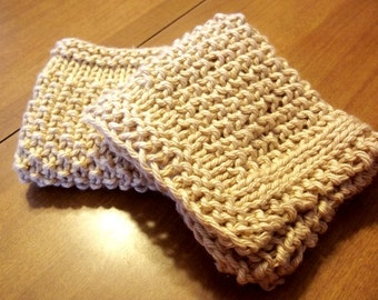 Hand Knit Cotton Wash Cloth Set of Two / Pick your Color