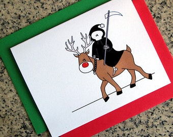 the grim reaper is coming to town christmas greeting cards / notecards / thank you notes (blank or custom inside) with envelopes set of 10