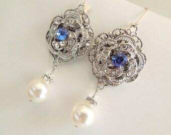 Ivory or White Pearl, Bridal Wedding Earrings, Rhinestone Wedding Bridal Earrings,Chandeliers,Pearl Drops,Something Blue Earrings,ROSELANI