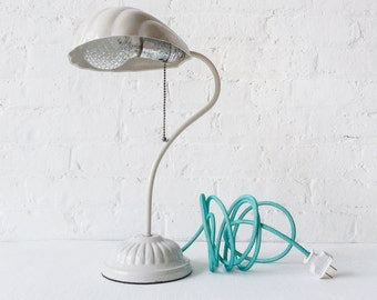 10% SALE - Retro White Shell Lamp - Vintage Light - Aqua Net Color Cord - Ornate Diamond Lightbulb - Vintage Socket Pull Chain - Unique OOAK