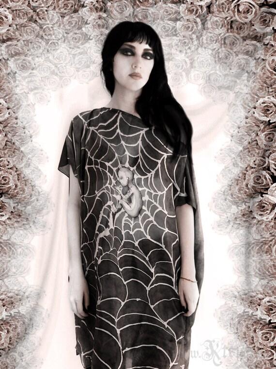 Steampunk dress tunic - silvery silk cobweb -  Moonchild