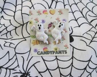 Ghost Glitter Halloween Post Earrings