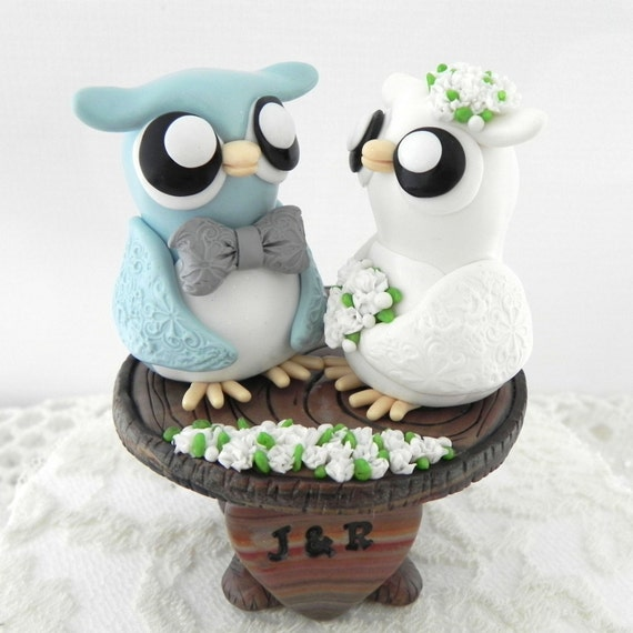 Love Owls Wedding Cake Topper, Blue grey, Ivory and Grey, Custom Wood Stump, Bride and Groom Keepsake, Fully Custom