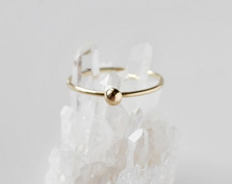14K Yellow Gold Grain of Sand Ring - 14K Solid Gold Dainty Minimalist Modern Jewelry