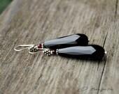 Sterling Silver and Onyx Long Drop Dangle Earrings