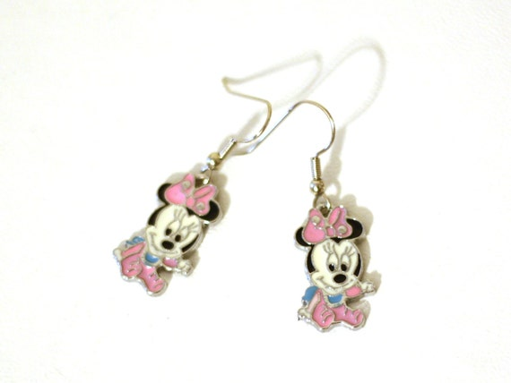 baby minnie mouse enamel charm earrings by