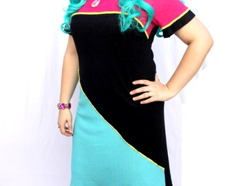 Color Blocked Pink Black and Teal Geometric Tunic Shirt Dress - Size Medium / Large