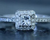 14K White Gold Engagement Ring set with Princess Cut and Round Brilliant Cut Diamonds White Rhodium Plated Made to Order