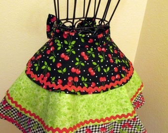 Half Apron with Layers - Cherries All Around - Flirty  Tiers and Red Rick Rack Retro Mod Chic