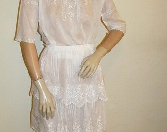 Authentic White Edwardian White Embroidered Lawn Outfit Downton Abbey Size Medium