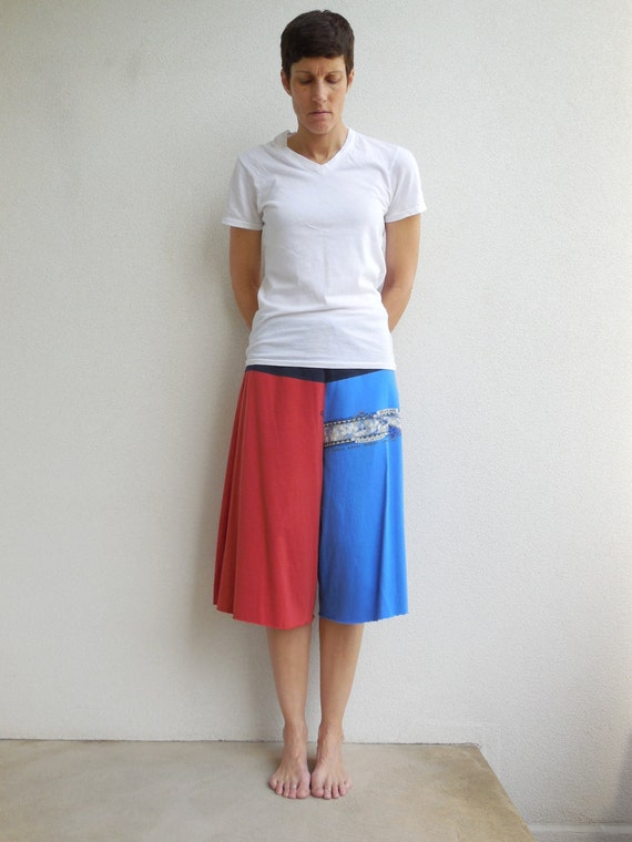 Womens Cropped Pants Yoga Pants T-Shirt Casual Pants Gauchos M Drawstring Royal Blue Dark Red Cotton Pants Handmade Pants Spring Summer