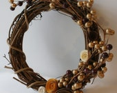 Earth Tones Autumn Fall Inspired OOAK 7 inch Grapevine Small Wreath