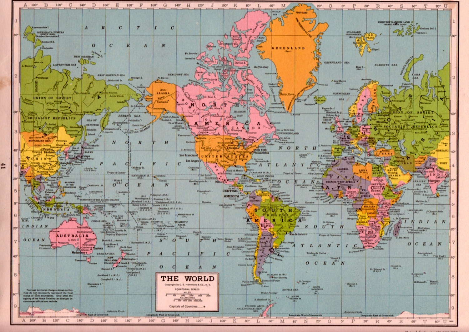 1940s WORLD MAP post WW2 map of the World by theStoryOfVintage