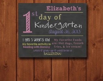 Customized 1st Day of School Print (DIGITAL FILE) - 16 x 20, 12 x 12, or 8 x 10 - Child's First or Last Day of School
