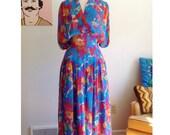 1980s HANAE MORI Silk Chiffon Floral Print Dress