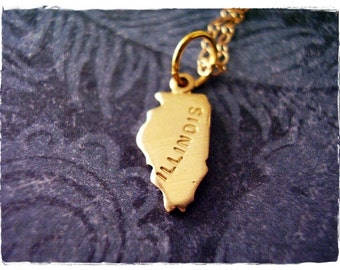 Tiny Gold Illinois State Necklace - Raw Brass Illinois Charm on a Delicate 14kt Gold Filled Cable Chain or Charm Only