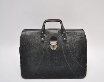vintage leather briefcase satchel 1950s attache tote briefcase tote bag