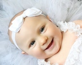 White Bow Headband. White Baby Bow Headband. White Baby Headband. Baby Hair Accessories. Girls Hair Accessories. Christening. Baptism. White
