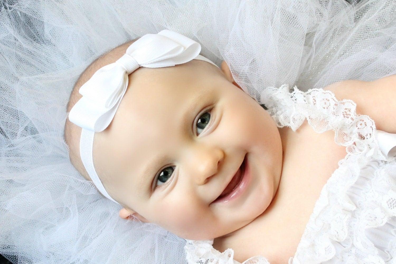 White Bow Headband White Baby Bow Headband White Baby