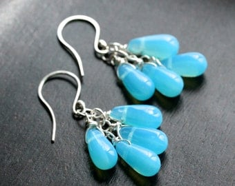 Aqua blue cluster earrings, Czech glass drops, sterling silver, dangle, beaded, wire wrapped, Mimi Michele Jewelry