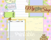 Digital printable scrapbbok page. Baby book First Visitors digital  scrapbook page, teddy bear, bunny rabbit, birthday, instant download
