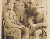 Four HANDSOME Young WWI SOLDIERS Photo Postcard Circa 1918