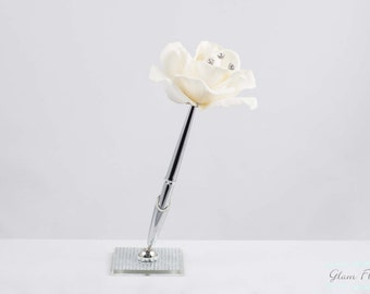 Wedding Guestbook Pen- Ivory Real Touch Rose Bridal Signature Pen.  on Stainless Silver Pen, Rhinestone Crystal Pen Holder