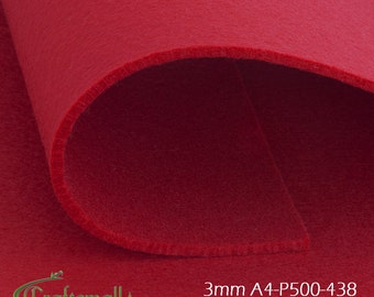 3mm Felt sheet 200x300mm - dark red - A4-P500-438