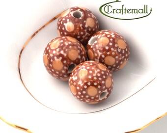 40% OFF SALE: Handmade ceramic beads - set of two beads - Polish Pottery beads - decoration nr.12