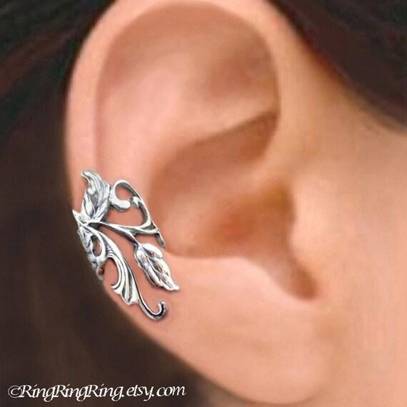 Poppy Flower Leaf Ear Cuff Sterling Silver By Ringringring