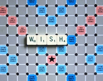 Make a Wish. Vintage mini French scrabble letter word.