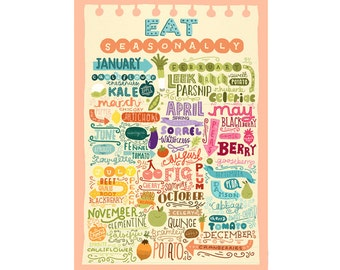 A4 Art Print - 'Eat Seasonally' - Digital Print / Hand Lettering / Typography / Illustration