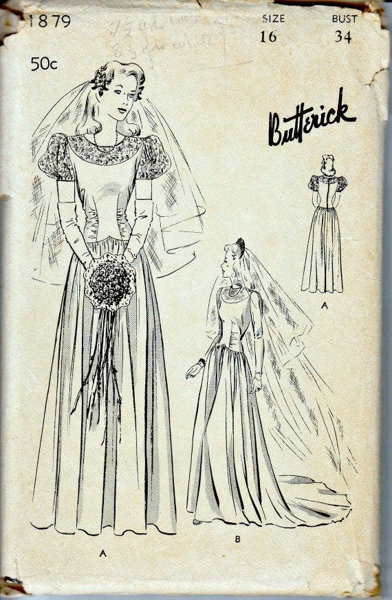 1940s moulded bodice wedding gown and veil pattern for 1940s wedding dress patterns