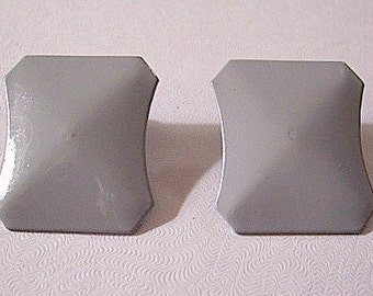Grey Square Clip On Earrings Vintage Curved Cut Edges Smooth Finish