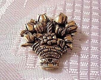 Tulip Flower Ribbon Heart Basket Tac Pin Brooch Gold Tone Vintage CTA Antiqued Black Accent Twisted Handle