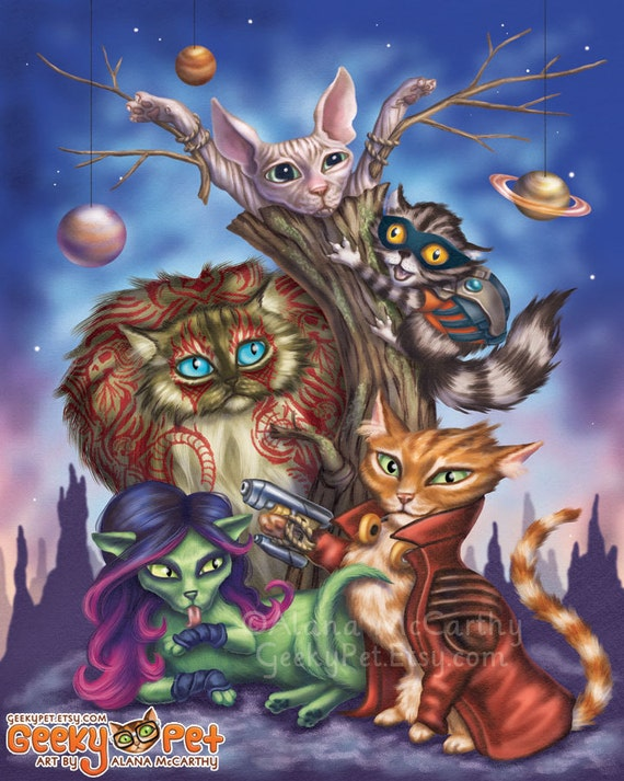 Guardians of the Galaxy Cats - 8x10 art print - Star-Lord, Groot, Rocket, Drax and Gamora come together in cat form to save the Galaxy!