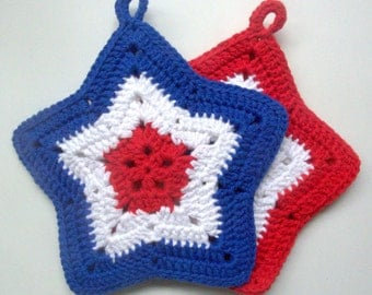 Patriotic Crochet Pot Holders Red, White and Blue Patriotic