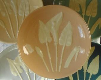 5 VINTAGE Coupe Soup Art Pottery Ceramic Bowls Raised Lily Flowers Assorted Soft Pastel Palet Cadet Blue Grey Blue Pale Turquiose Soft Peach