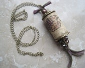 Cork Grape Leaf Pendant Acccented in Plum, Green and Antique Bronze-Recycled Wine Cork