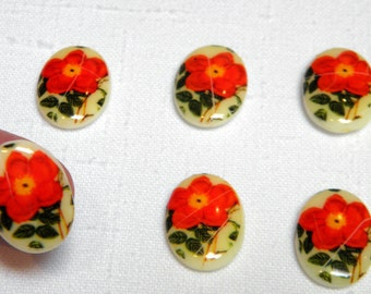 "Cabochon - 6 Vintage Glass ""Christmas Rose"" Floral Unset Cabochons 13x18 MM Craquelure Red Rose Holiday Craft Decor Costume Cottage Chic"