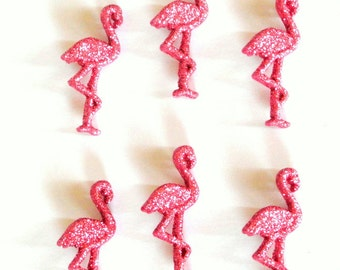 Pink Flamingo Glitter Buttons 6pc