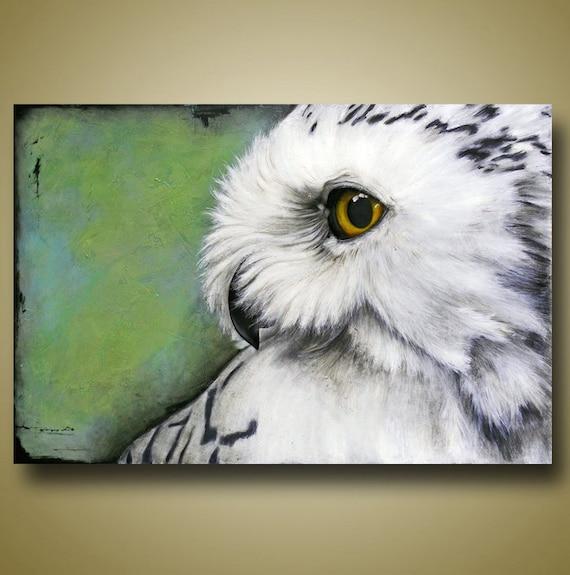 Snowy Owl Painting Original Art Textured Painting Owl Art