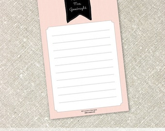 Personalized Name Notepad | Black Flag Banner on Pink Background Notepads | Lined Notepad
